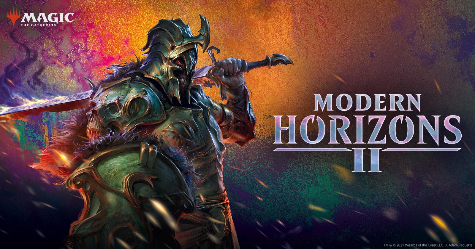 Modern Horizons 2 banner with Dakkon Blackblade and MH2 logo